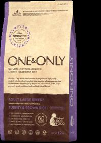 Сухой корм One&Only Индейка  с рисом для взрослых собак крупных пород