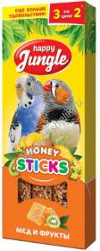 J204 HAPPY JUNGLE Палочки для птиц мед+фрукты 3 шт