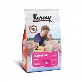 Karmy Sensitive Mini  сухой корм для собак мелких пород с чувствительным пищеварением с  лососем