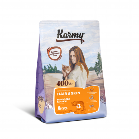 Karmy Hair & Skin сухой корм для кошек, поддерживающий здоровье кожи и шерсти с лососем