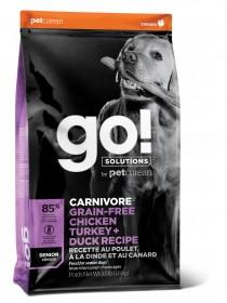 GO! CARNIVORE GF Senior Recipe DF 32/14 сухой беззерновой корм д/пожилых собак 4 мяса: Индейка, Курица, Лосось, Утка