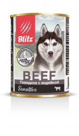"""BLITZ  """"Говядина с индейкой"""" консервы для собак всех пород и возрастов 400 гр."""