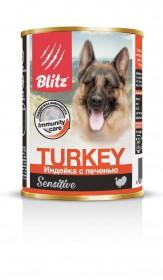 """BLITZ """"Индейка с печенью"""" консервы для собак всех пород и возрастов 400 гр."""