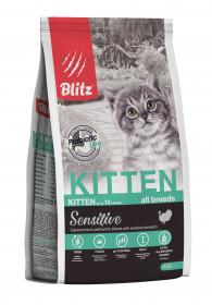 BLITZ KITTEN полнорационный сухой корм для котят с индейкой 400 гр.