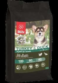 BLITZ PUPPY  TURKEY & DUCK беззерновой корм для щенков Индейка и Утка 12 кг.