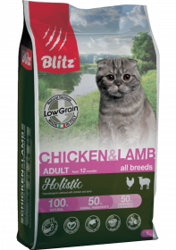 BLITZ ADULT CAT CHICKEN & LAMB низкозерновой корм для взрослых кошек Курица и Ягненок, 5 кг.