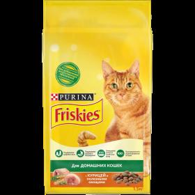 Purina Friskies, Сухой корм Friskies для взрослых домашних кошек, с курицей и полезными овощами, Пакет