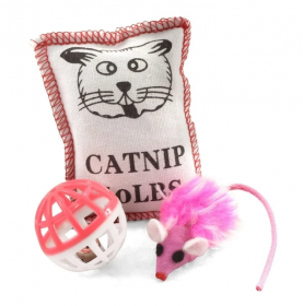 TRIOL (ТРИОЛ) Набор игрушек для кошек (мяч, 2 мыши, барабан), d40мм; 45мм; 40мм XW0046