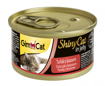 GimCat, ShinyCat консервы для кошек из тунца с лососем