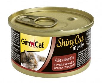 GimCat, ShinyCat консервы для кошек из цыпленка с говядиной