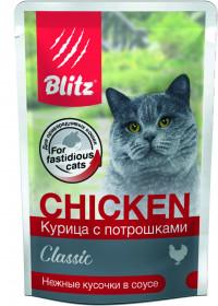 BLITZ Курица с потрошками в соусе, консервы для кошек, 85 гр.