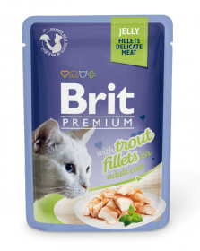 Brit ПРЕМИУМ Пауч для кошек JELLY Trout fillets Кусочки филе Форели в желе