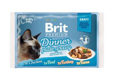 Brit ПРЕМИУМ Набор паучей для кошек Dinner Plate Gravy (Кусочки в соусе)