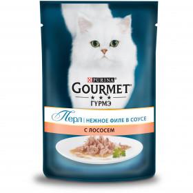 Gourmet (Гурмэ) Перл. Корм консервированный полнорационный для взрослых кошек, с лососем, нежное филе в соусе