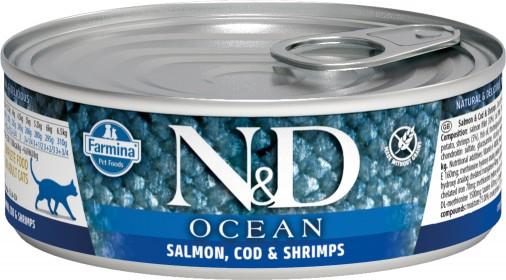 Влажный корм для кошек Farmina N&D беззерновой, с лососем, треской и креветками