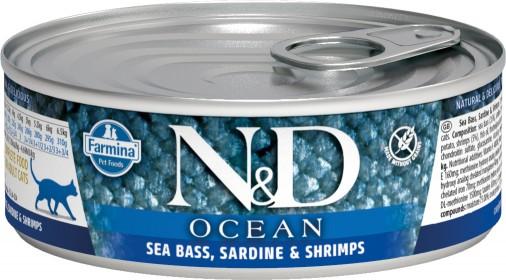 Влажный корм для кошек Farmina N&D Ocean, беззерновой, с сибасом, сардиной и креветками