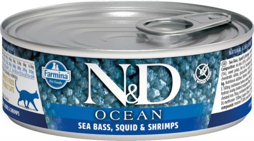 Влажный корм для кошек Farmina N&D Ocean, беззерновой, с сибасом, кальмаром и креветками