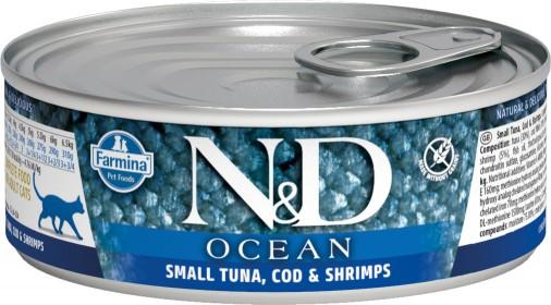 Влажный корм для кошек Farmina N&D Ocean, беззерновой, с тунцом и креветками