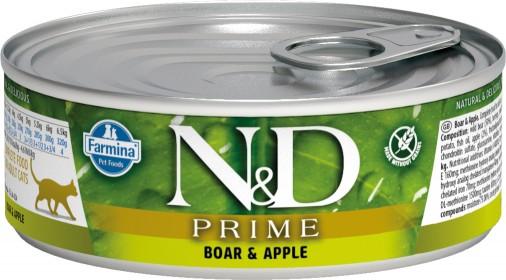 Влажный корм для кошек Farmina N&D беззерновой, с кабаном и яблоком