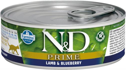 Влажный корм для кошек Farmina N&D Prime, беззерновой, с ягненком, с черникой