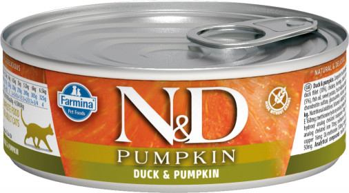 Влажный корм для кошек Farmina N&D Pumpkin, беззерновой, с уткой и тыквой