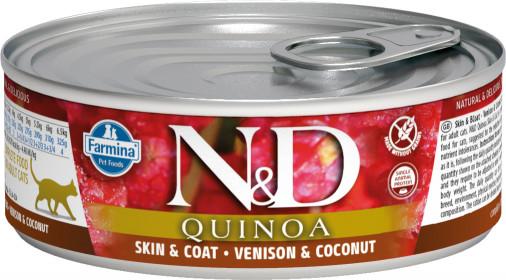 Влажный корм для кошек Farmina N&D, для здоровья кожи и блеска шерсти, беззерновой, с олениной, кокосом и киноа
