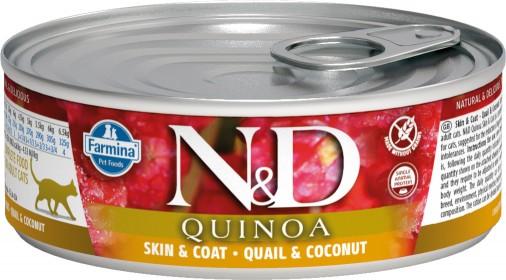 Влажный корм для кошек Farmina N&D, для здоровья кожи и блеска шерсти, беззерновой, с перепелом, кокосом и киноа