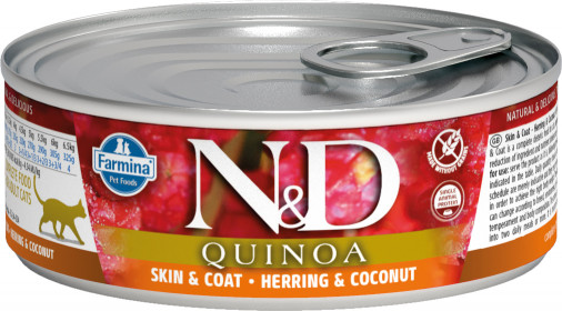 Влажный корм для кошек Farmina N&D, для здоровья кожи и блеска шерсти, беззерновой, с сельдью, кокосом и киноа