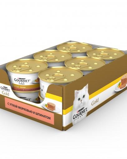 Gourmet (Гурмэ) Голд. Корм консервированный полнорационный для взрослых кошек, кусочки в паштете «Террин» с уткой, морковью и шпинатом по-французски