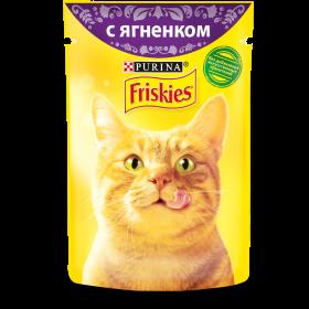 Purina Friskies, Влажный корм Friskies для взрослых кошек, с ягненком в подливе, Пауч