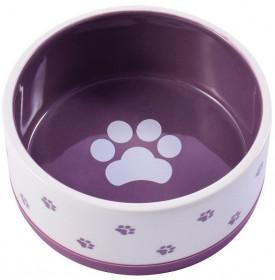 Миска керамическая нескользящая для собак 360 мл белая с фиолетовым