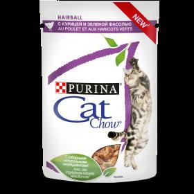 Purina Cat Chow, сухой корм для взрослых кошек для контроля образования комков шерсти с курицей и зеленой фасолью в соусе