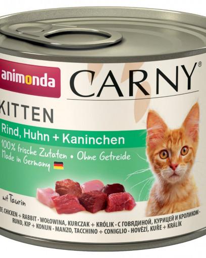 ANIMONDA CARNY KITTEN консервы для котят с говядиной, курицей и кроликом