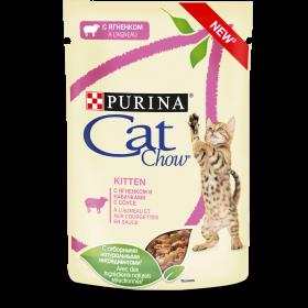 Purina Cat Chow, влажный корм для котят для стерилизованных котят с ягненком и кабачками в соусе