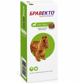 Intervet Бравекто жевательная таблетка от блох и клещей для собак весом 10-20 кг 500 мг