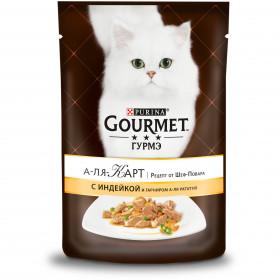 Gourmet (Гурмэ) А-ля Карт. Рецепт от Шеф-повара влажный корм для взрослых кошек, с индейкой и зеленым горошком