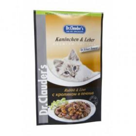 Dr.Clauder's консервированный корм для кошек с кроликом и печенью кусочки в соусе Пауч 100 г