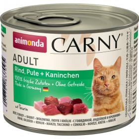 ANIMONDA CARNY ADULT консервы для кошек с говядиной, индейкой и кроликом