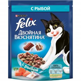 Felix Двойная Вкуснятина. Корм сухой полнорационный для взрослых кошек, с рыбой