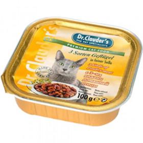 Dr.Clauder's консервированный корм для кошек с 3 видами домашней птицы кусочки в соусе 100 г