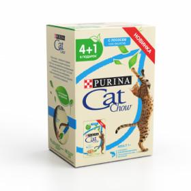 Purina Cat Chow, влажный корм для взрослых кошек, промо 4+1, пауч 5шт х 85 гр, с лососем и зеленой фасолью