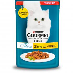 Gourmet (Гурмэ) Перл Желе Де-Люкс влажный корм для взрослых кошек, с говядиной в роскошном желе
