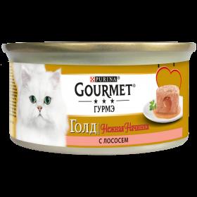 Gourmet (Гурмэ) Голд Нежная начинка. Корм консервированный полнорационный для взрослых кошек, с лососем