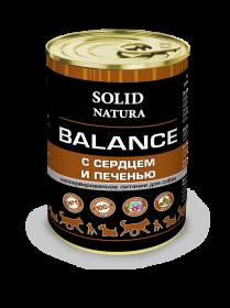 SOLID NATURA Balance консервированный корм для собак, сердце с печенью, 340г