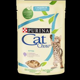 Purina Cat Chow, влажный корм для котят с индейкой и кабачками в желе