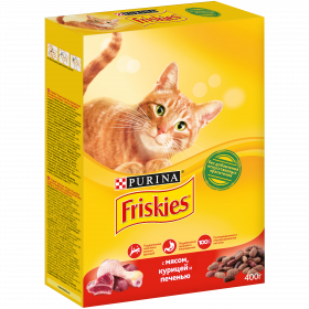 Purina Friskies, Сухой корм Friskies для взрослых кошек, с мясом, курицей и печенью, Коробка