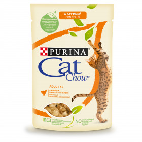 Purina Cat Chow, влажный корм для взрослых кошек с курицей и кабачками в желе