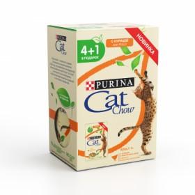 Purina Cat Chow, влажный корм ,набор 4+1 для взрослых кошек пауч 5 х 85 гр с курицей и кабачками