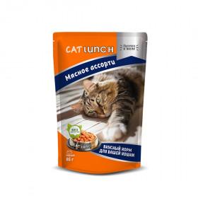 Cat Lunch консервированный корм для кошек кусочки в желе с мясным ассорти 85 г