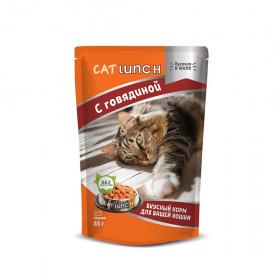 Cat Lunch консервированный корм для кошек кусочки в желе с говядиной 85 г